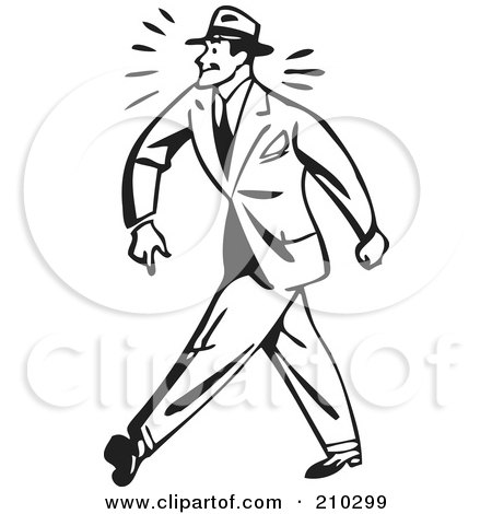Royalty-Free (RF) Clipart Illustration of a Retro Black And White Businessman Walking Tough by BestVector