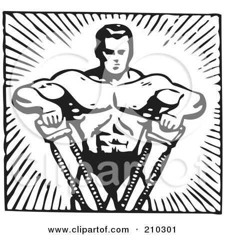 Royalty-Free (RF) Clipart Illustration of a Retro Black And White Bodybuilder Pulling With His Arms by BestVector