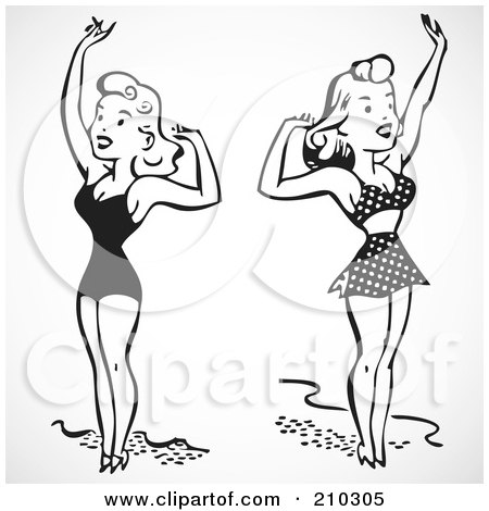 Royalty-Free (RF) Clipart Illustration of a Digital Collage Of Retro Black And White Women In Bathing Suits, Waving by BestVector