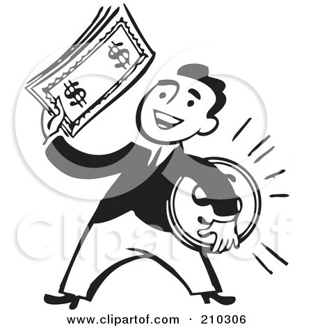 Royalty-Free (RF) Clipart Illustration of a Retro Black And White Businessman Holding A Coin And Cash by BestVector