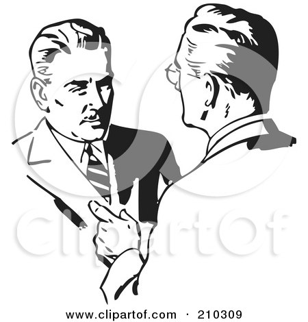 Royalty-Free (RF) Clipart Illustration of Retro Black And White Businessmen Talking by BestVector