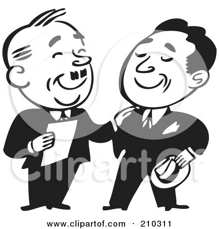Royalty-Free (RF) Clipart Illustration of Retro Black And White Businessmen Standing And Talking by BestVector