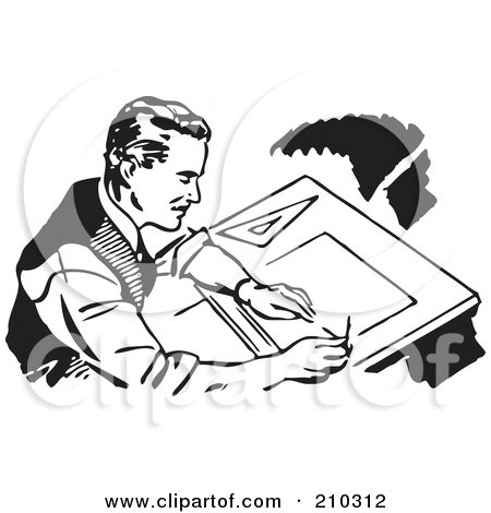 Royalty-Free (RF) Clipart Illustration of a Retro Black And White Male Architect Drafting by BestVector