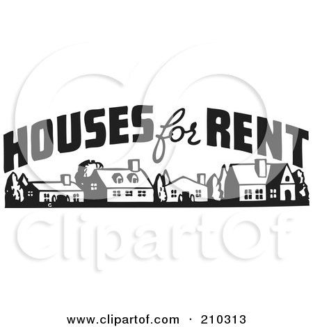 Royalty-Free (RF) Clipart Illustration of a Retro Black And White Houses For Rent Sign by BestVector