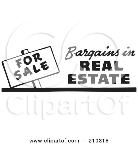 Royalty-Free (RF) Clipart Illustration of a Retro Black And White For Sale Bargains In Real Estate Sign by BestVector