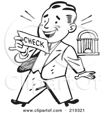 Royalty-Free (RF) Clipart Illustration of a Retro Black And White Businessman Reading A Check by BestVector