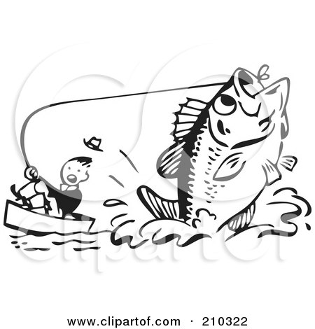Royalty-Free (RF) Clipart Illustration of a Retro Black And White Man Being Pulled By A Giant Fish by BestVector
