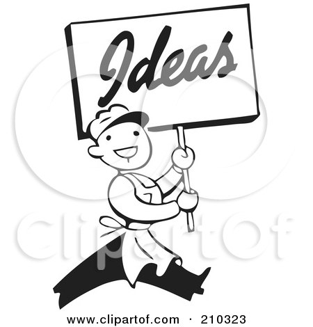 Royalty-Free (RF) Clipart Illustration of a Retro Black And White Man Carrying An Ideas Sign by BestVector