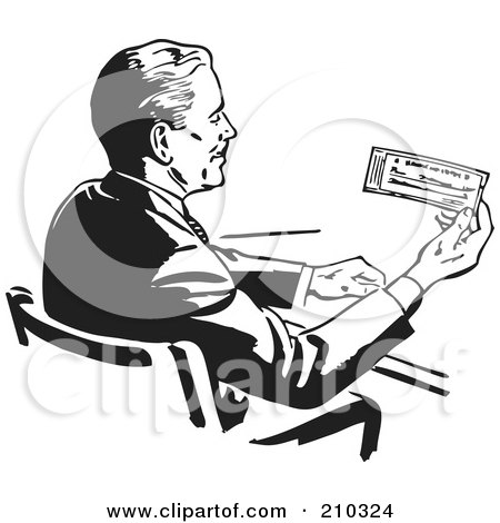 Royalty-Free (RF) Clipart Illustration of a Retro Black And White Businessman Sitting At A Desk And Holding A Check by BestVector