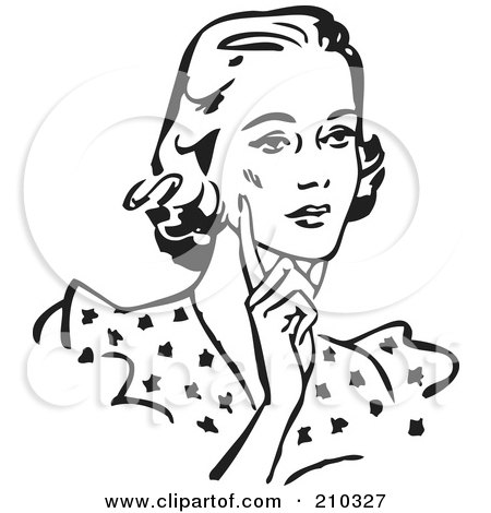 Royalty-Free (RF) Clipart Illustration of a Retro Black And White Woman Touching Her Cheek And Looking Concerned by BestVector