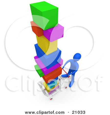 Clipart Illustration of a Blue Person Pushing A Cart In A Store, Purchasing A Lot Of Items by 3poD
