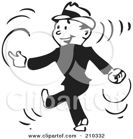 Royalty-Free (RF) Clipart Illustration of a Retro Black And White Businessman Walking And Snapping His Fingers by BestVector
