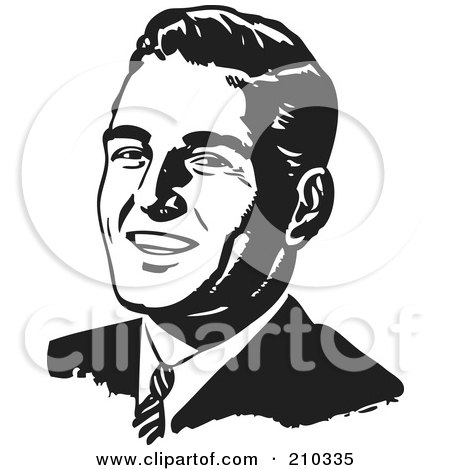 Royalty-Free (RF) Clipart Illustration of a Retro Black And White Businessman's Face by BestVector