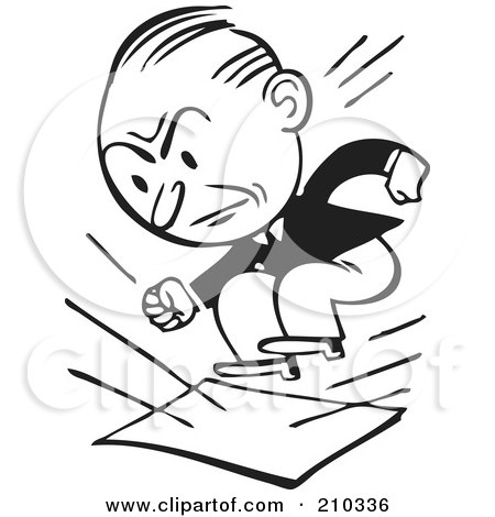 Royalty-Free (RF) Clipart Illustration of a Retro Black And White Businessman Stomping On Documents by BestVector