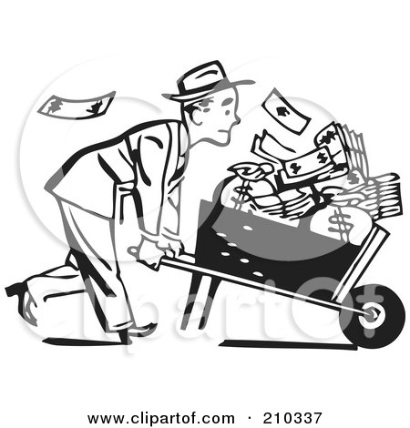 Royalty-Free (RF) Clipart Illustration of a Retro Black And White Businessman Pushing A Wheel Barrow Of Cash To The Right by BestVector