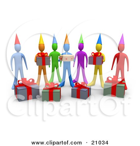 Clipart Illustration of a Group Of Diverse Friends With Gifts And A Birthday Cake, Waiting For A Surprise Party by 3poD