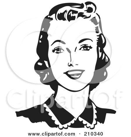 Royalty-Free (RF) Clipart Illustration of a Retro Black And White Woman Looking Forward And Smiling by BestVector