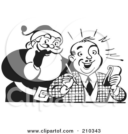 Royalty-Free (RF) Clipart Illustration of a Retro Black And White Santa Behind A Man Writing A List by BestVector