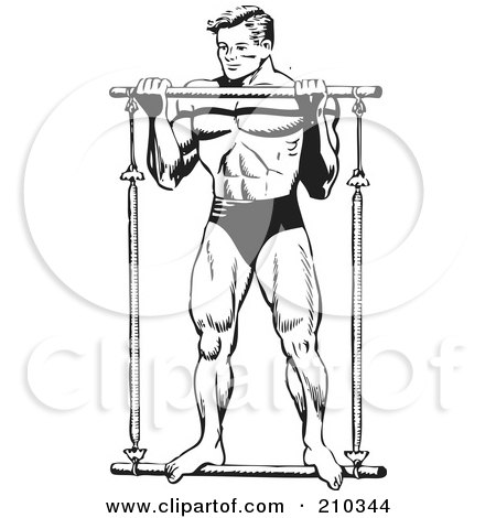 Royalty-Free (RF) Clipart Illustration of a Retro Black And White Bodybuilder Lifting A Bar by BestVector