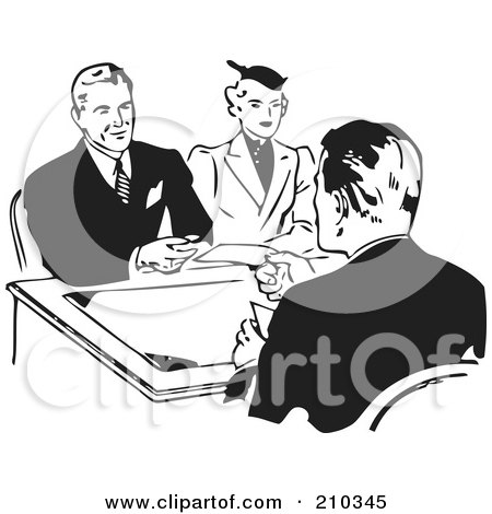 Royalty-Free (RF) Clipart Illustration of a Retro Black And White Couple Discussing A Loan by BestVector