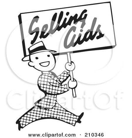 Royalty-Free (RF) Clipart Illustration of a Retro Black And White Man Carrying A Selling Aids Sign by BestVector