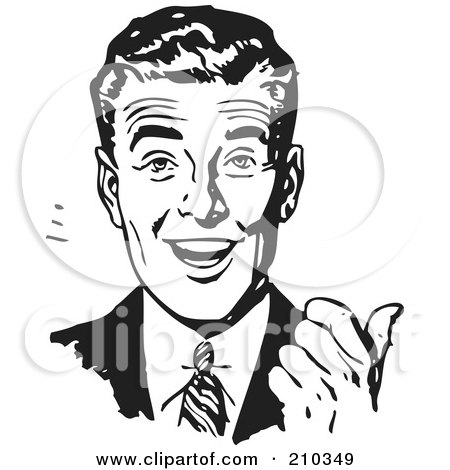 Royalty-Free (RF) Clipart Illustration of a Retro Black And White Businessman Smiling And Gesturing With His Thumb by BestVector
