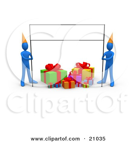 Clipart Illustration of Two Blue People In Party Hats, Holding Up A Blank Banner Sign Over Birthday Presents by 3poD