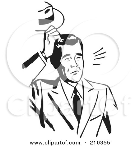 Royalty-Free (RF) Clipart Illustration of a Retro Black And White Businessman Scratching His Head by BestVector