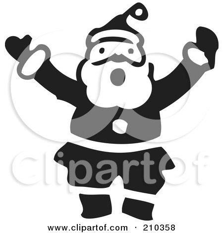 Royalty-Free (RF) Clipart Illustration of a Retro Black And White Santa Shouting by BestVector