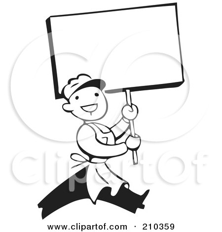Royalty-Free (RF) Clipart Illustration of a Retro Black And White Man Carrying A Blank Sign by BestVector