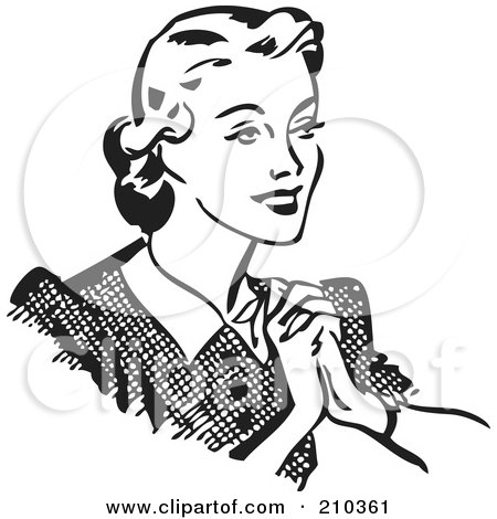 Royalty-Free (RF) Clipart Illustration of a Retro Black And White Happy Woman Holding Her Hands To Her Chest by BestVector