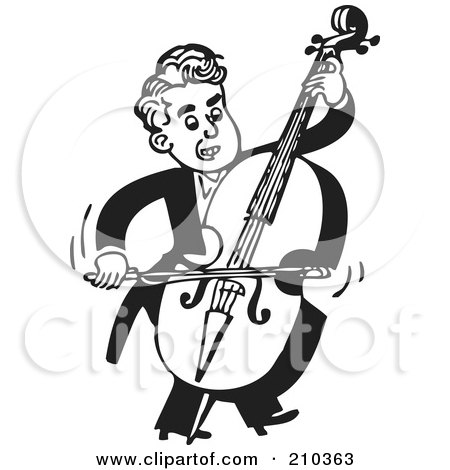 Royalty-Free (RF) Clipart Illustration of a Retro Black And White Musician Facing Right And Playing A Bass by BestVector