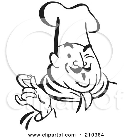 Royalty-Free (RF) Clipart Illustration of a Retro Black And White Chef Touching His Fingers by BestVector