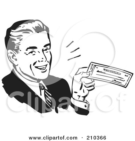 Royalty-Free (RF) Clipart Illustration of a Retro Black And White Businessman Smiling And Holding A Check by BestVector