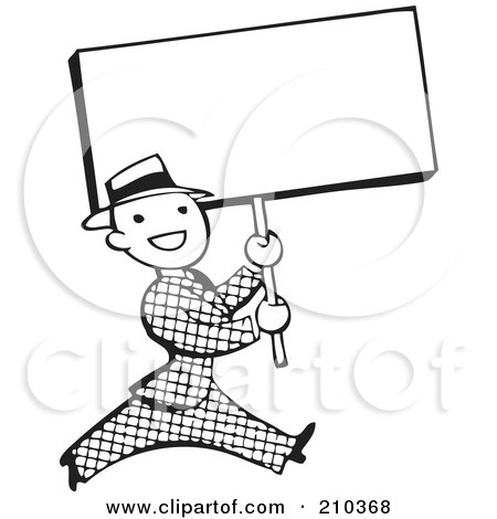 Royalty-Free (RF) Clipart Illustration of a Retro Black And White Man Walking With A Blank Sign by BestVector