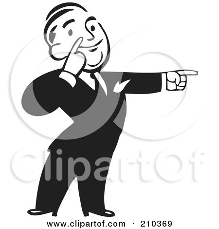 Royalty-Free (RF) Clipart Illustration of a Retro Black And White Businessman Pointing To The Right by BestVector