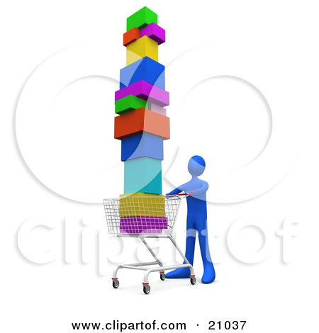 Clipart Illustration of a Blue Person Pushing A Shopping Cart Stacked High With Boxes by 3poD