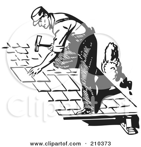 Royalty-Free (RF) Clipart Illustration of a Retro Black And White Male Roofer by BestVector