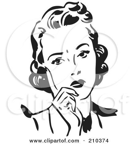 Royalty-Free (RF) Clipart Illustration of a Retro Black And White Woman Leaning On Her Hand by BestVector