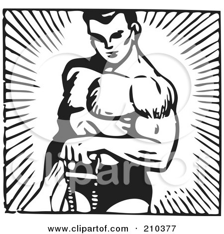 Royalty-Free (RF) Clipart Illustration of a Retro Black And White Bodybuilder Lifting With One Arm by BestVector