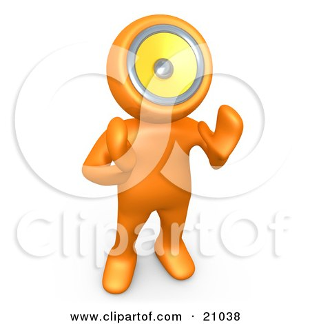 Clipart Illustration of an Orange Person With A Loud Speaker Head, Hollering Or Playing Music by 3poD