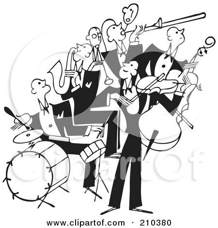 Royalty-Free (RF) Clipart Illustration of a Retro Black And White Band Of Bass, Drum, Sax And Violin Players by BestVector