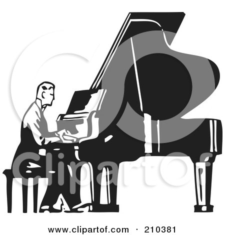 Royalty-Free (RF) Clipart Illustration of a Retro Black And White Man Seated And Playing A Piano by BestVector