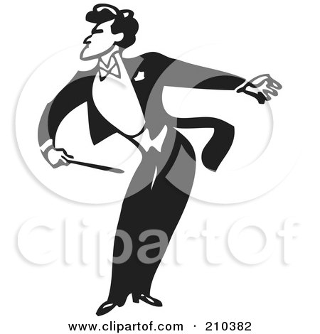 Royalty-Free (RF) Clipart Illustration of a Retro Black And White Music Conductor Facing Left, Bending And Holding An Arm Back by BestVector
