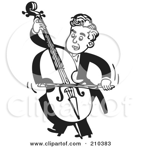 Royalty-Free (RF) Clipart Illustration of a Retro Black And White Musician Facing Left And Playing A Bass by BestVector