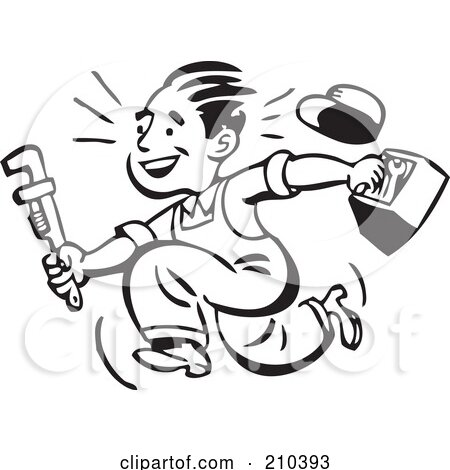 Royalty-Free (RF) Clipart Illustration of a Retro Black And White Plumber Or Handy Man Running With Tools by BestVector