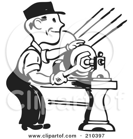 Royalty-Free (RF) Clipart Illustration of a Retro Black And White Man Tightening by BestVector