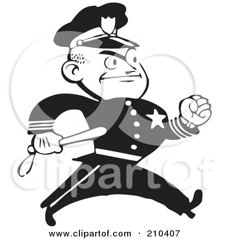 Royalty Free RF Retro Clipart Illustrations Vector #0: Royalty Free RF Clipart Illustration A Retro Black And White Policeman Walking With A Baton