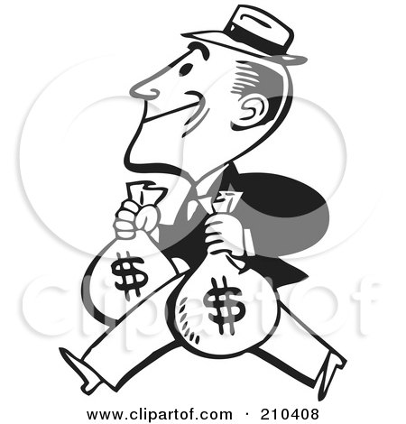 Royalty-Free (RF) Clipart Illustration of a Retro Black And White Man Carrying Two Money Bags by BestVector