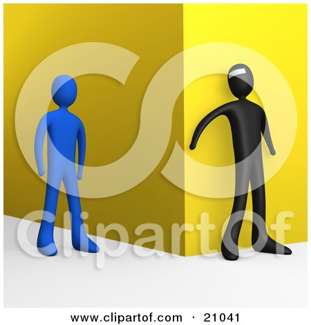 Clipart Illustration of a Bad Person Waiting Around A Corner To Attack An Approaching Blue Person by 3poD